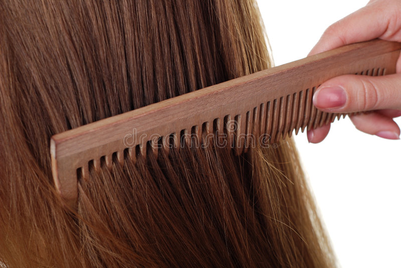 Long hair and comb stock images