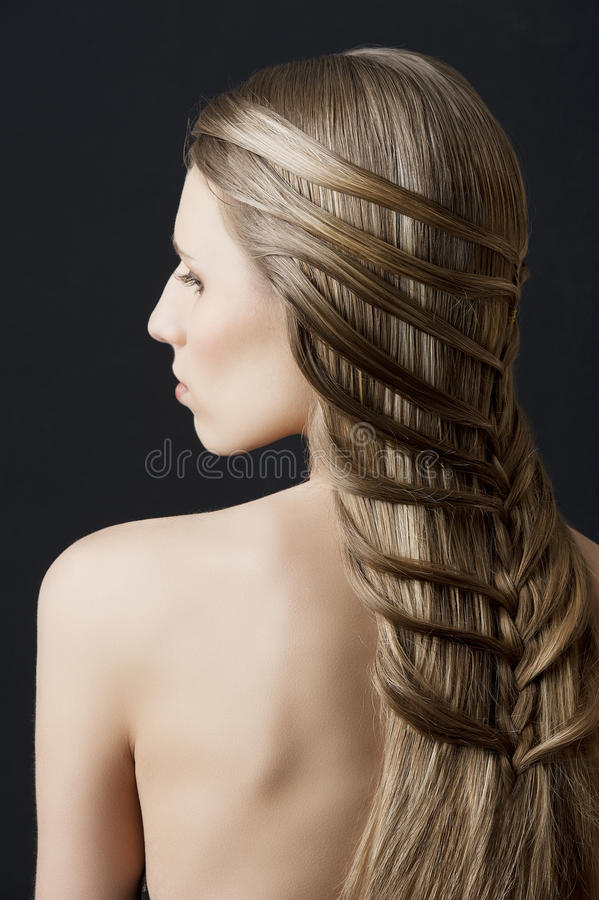 Long hair and fashion hairstyle, royalty free stock photo