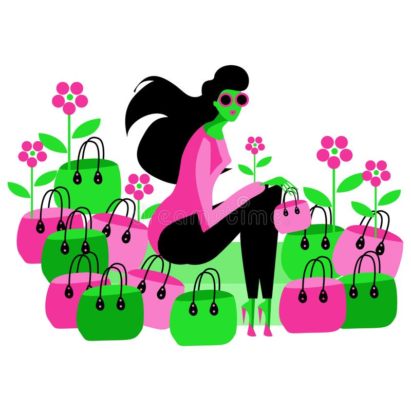 Long hair Fashion woman in sun glasses with bags and flowers ill stock illustration