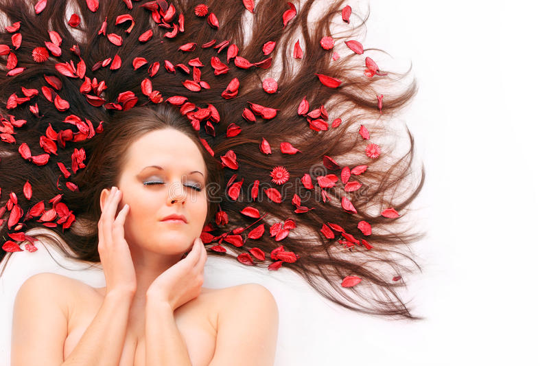 Download Long hair with flowers. stock image. Image of fashion - 17745501