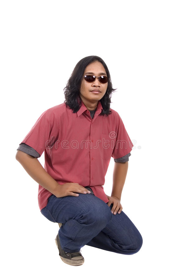 Long Hair Man Relax. On white background stock images