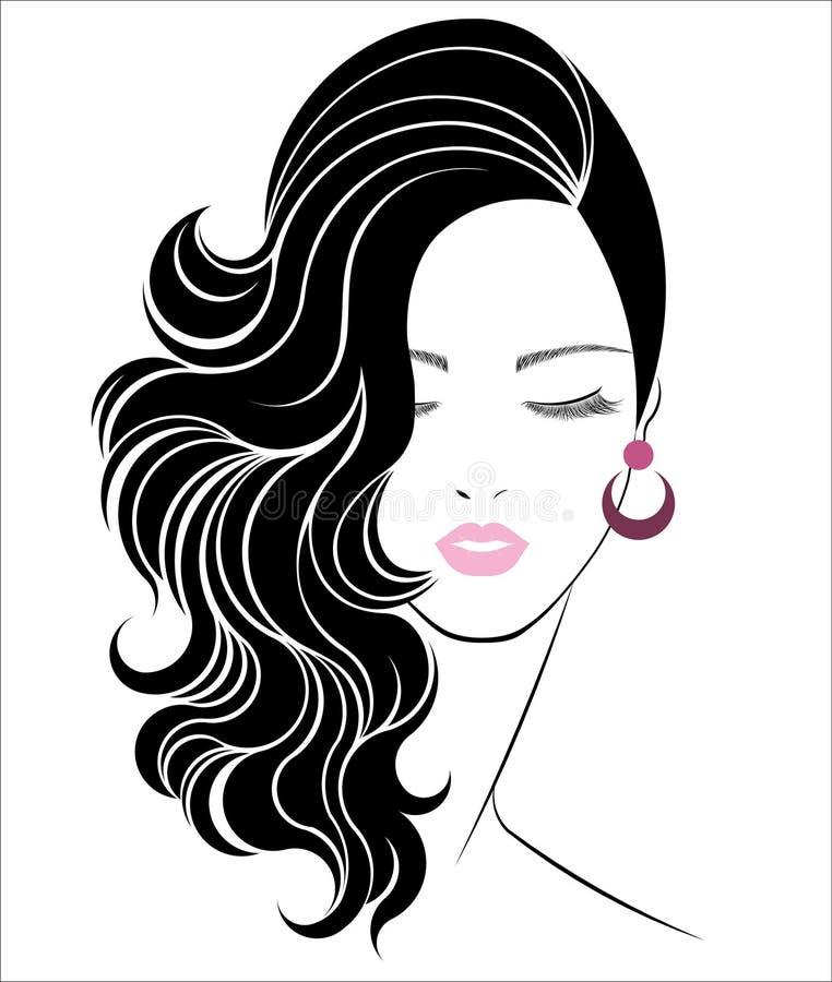 Vector Hairstyles: Long Hair Style Icon, Logo Women Face Stock Vector