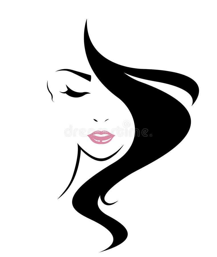 Long hair style icon, logo women face vector illustration