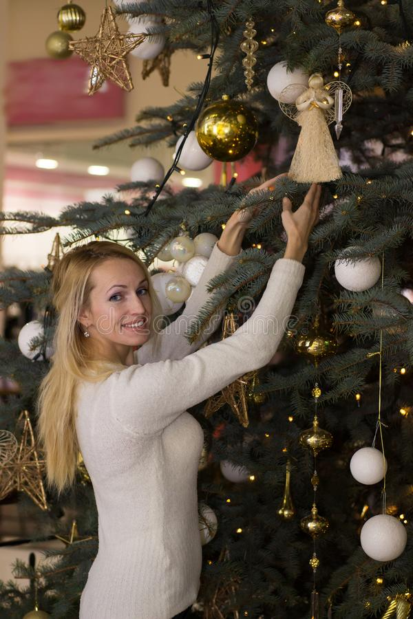 Long hair woman celebration Christmas. Blonde long hair woman celebration Christmas royalty free stock photo