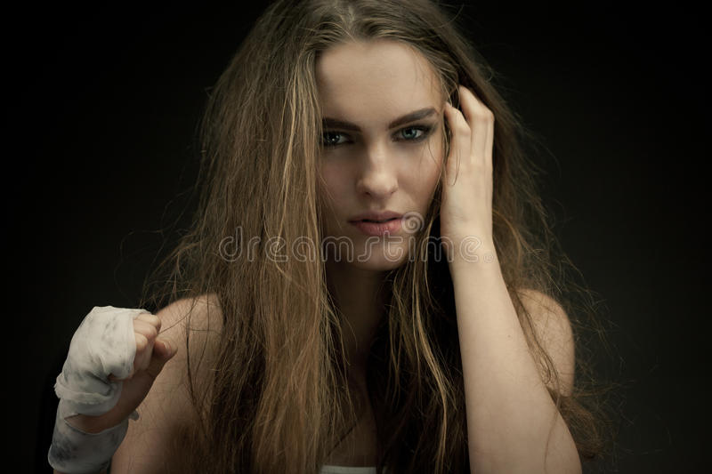 Download Long Haired Beauty With The Fists Stock Image - Image: 23999649