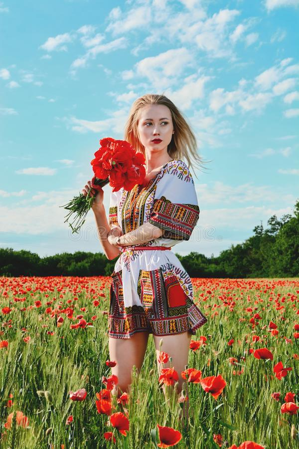 Long-haired blonde young woman in a white short dress on a field of green wheat and wild poppies stock image