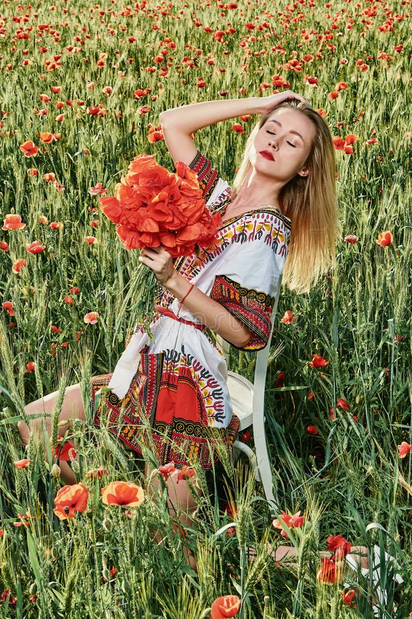 Long-haired blonde young woman in a white short dress on a field of green wheat and wild poppies royalty free stock image