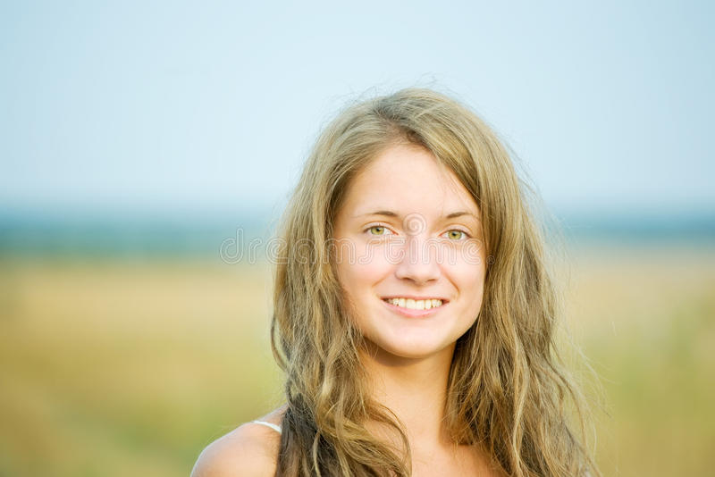 Long-haired girl royalty free stock photography