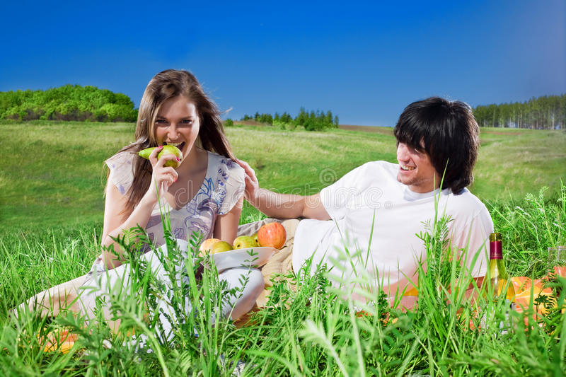 Download Long-haired Girl With Fruit And Boy With Smile Stock Image - Image: 14850865