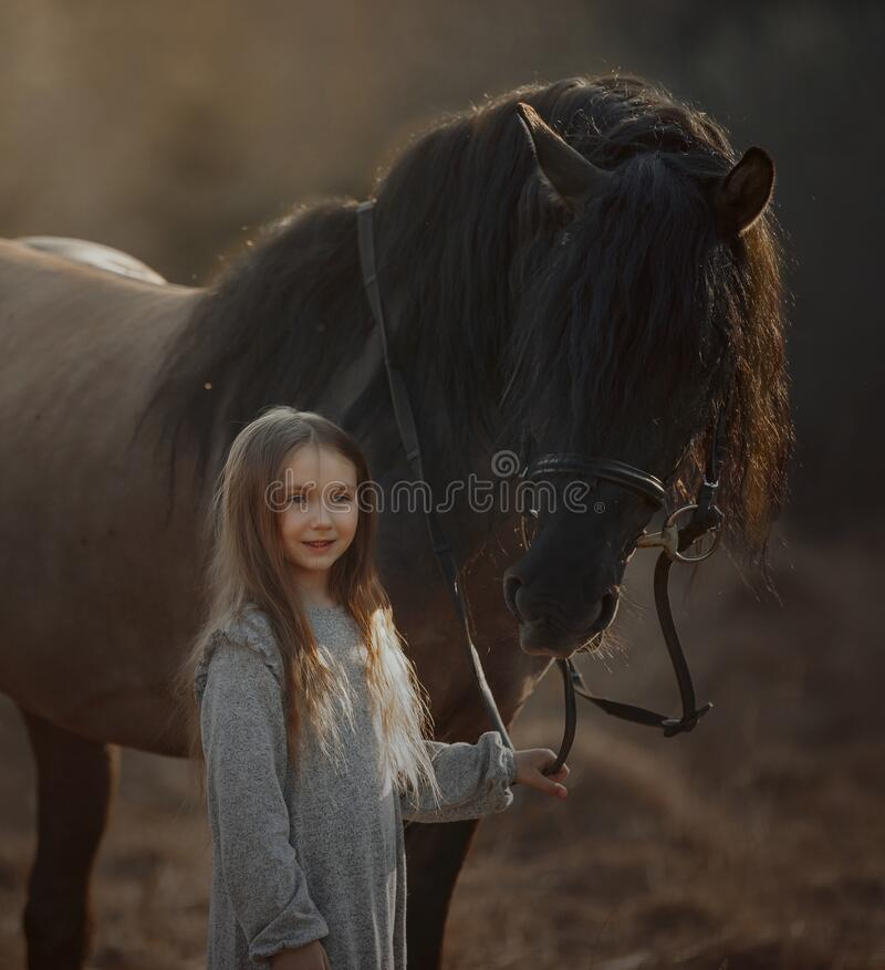 Free Long Haired Little Girl  In Casual Style With Brown Horse Stock Photos - 219140543