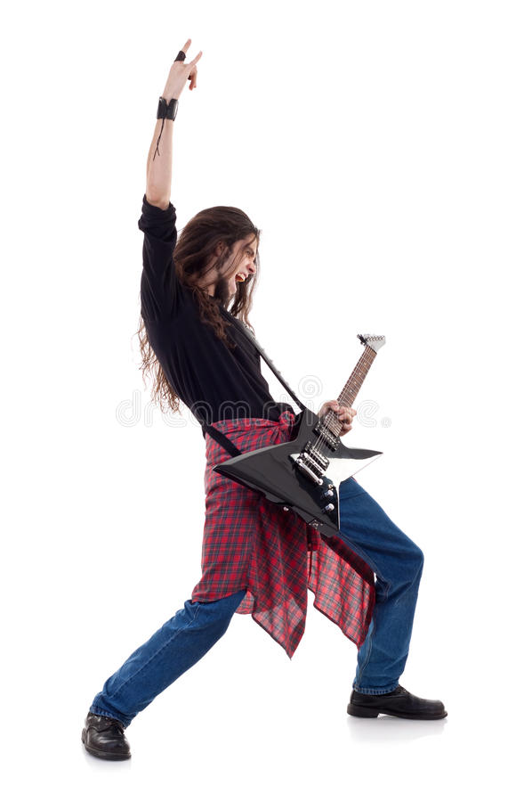 Long haired is making a rock hand gesture royalty free stock photos