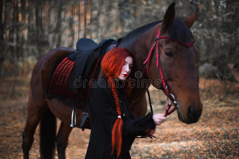 Long-haired red-haired girl standing next to a horse stock photos