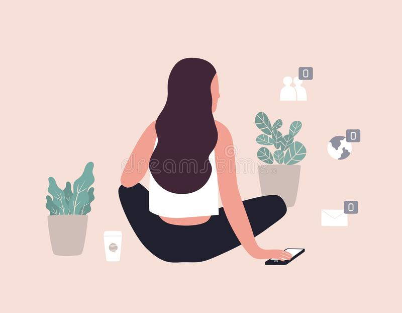 Long haired woman sitting among potted plants and zero unread messages notification symbols. Concept of solitude and royalty free illustration