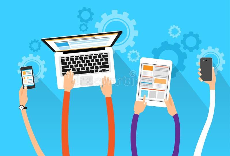 Long hands hold device electronics gadget concept. Laptop phone tablet flat vector illustration stock illustration