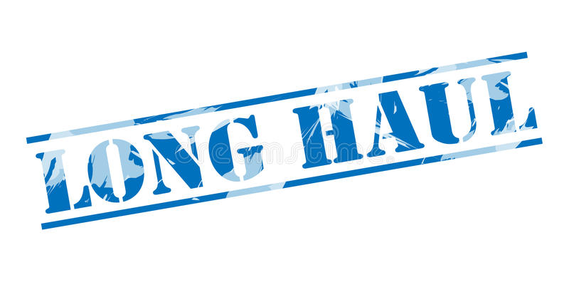 Long haul blue stamp. On white background vector illustration