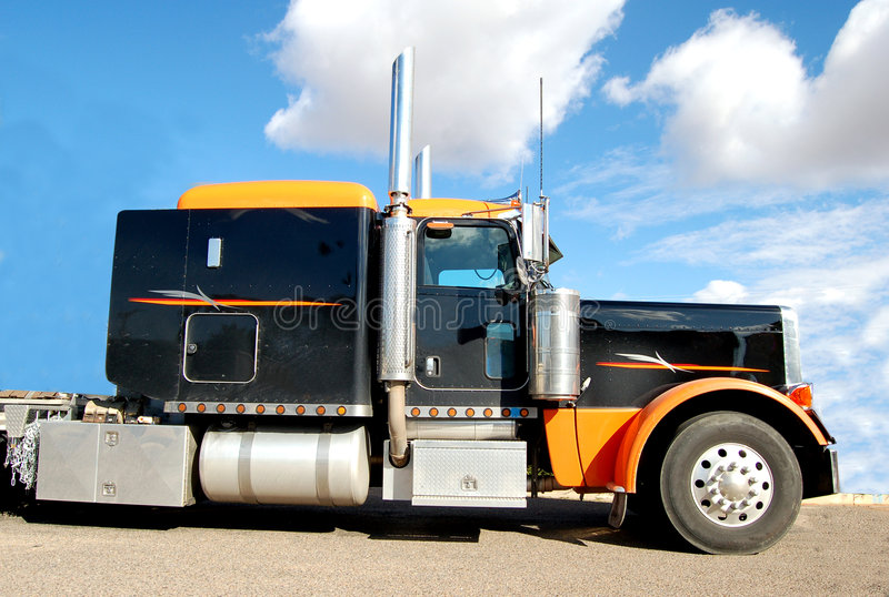 Download Long Haul Diesel Truck stock photo. Image of chrome, road - 3434310