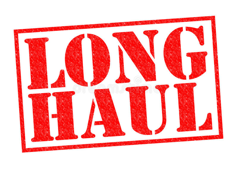 LONG HAUL. Red Rubber Stamp over a white background stock illustration