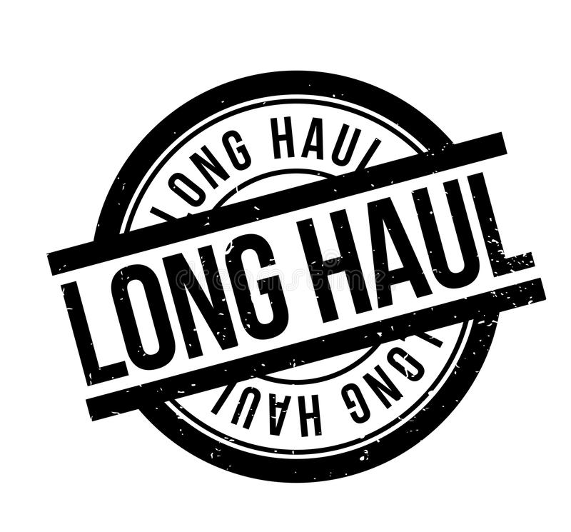 Long Haul rubber stamp. Grunge design with dust scratches. Effects can be easily removed for a clean crisp look. Color is easily changed stock illustration