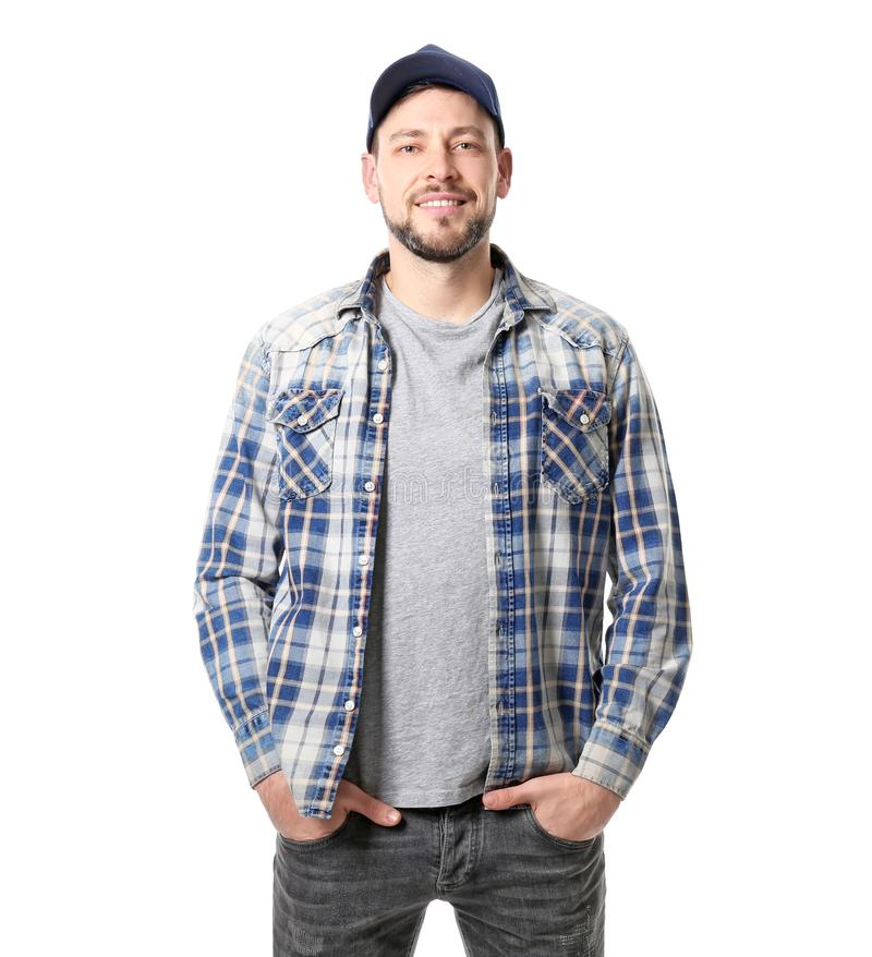 Long-haul truck driver on background. Long-haul truck driver on white background royalty free stock images