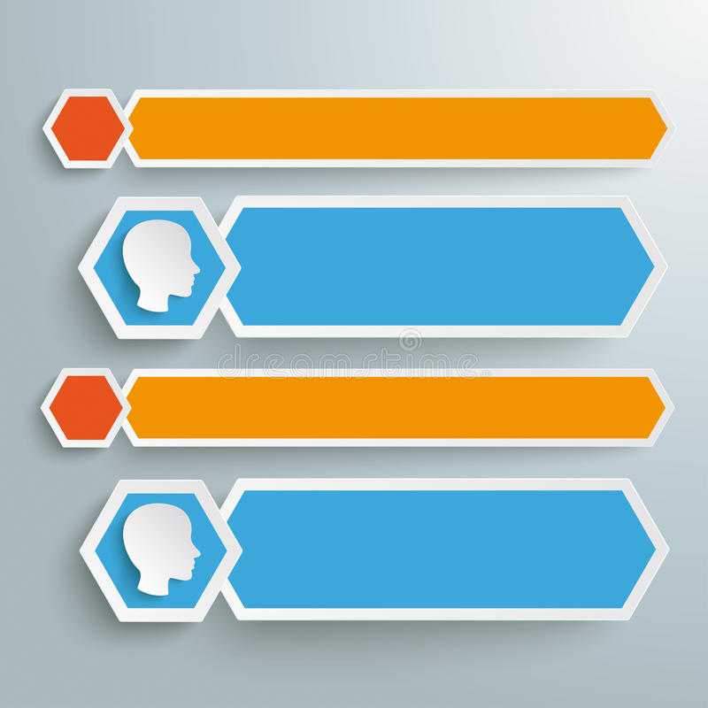 Long Hexagons Banner Heads. Infographic with hexagons and human heads on the grey background royalty free illustration