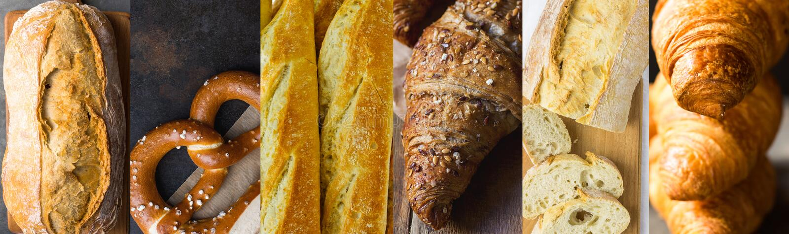Long high resolution banner for bakeries pastry shops. Variety assortment of different kinds of bread baked goods baguettes. Croissants pretzels ciabatta batard stock photo