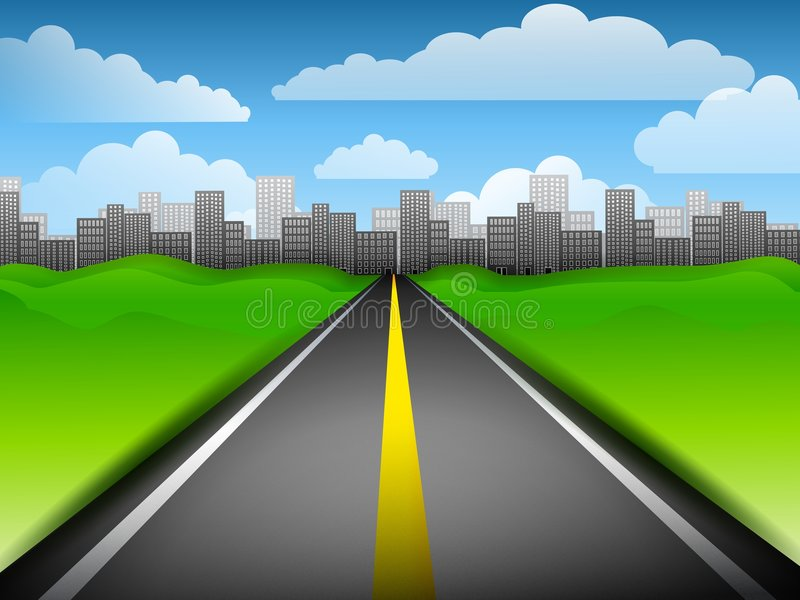 Long Highway To The City royalty free illustration