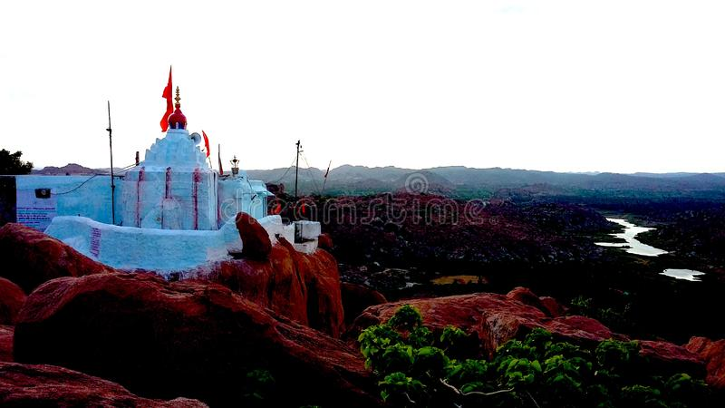 Sunrise temple view Hampi stock image