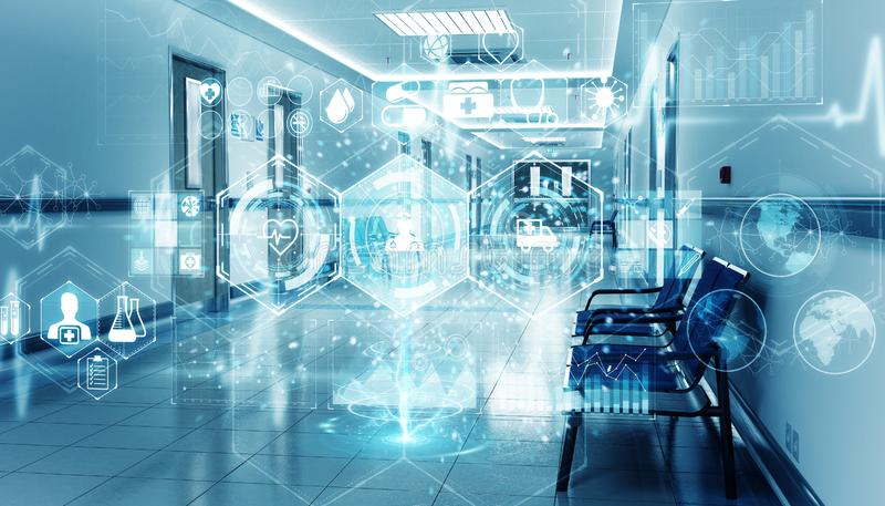 Hospital blue corridor with digital medical infographics and charts 3D rendering stock images
