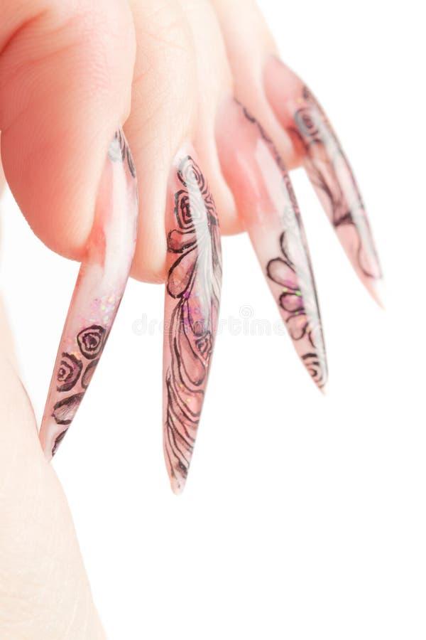 long humain de doigts d'ongle photographie stock libre de droits
