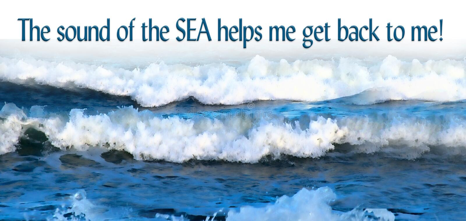 Download Ocean Waves With Quote, Sounds Of The Sea Stock Illustration    Illustration Of Ripples