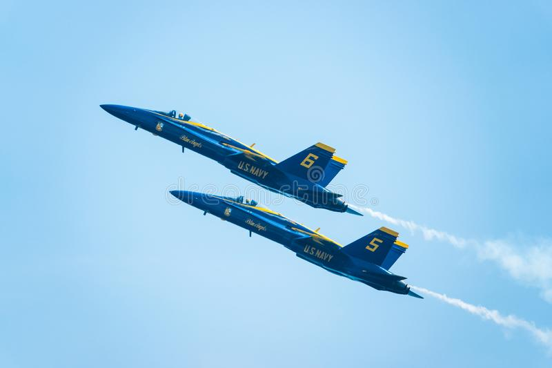 The Blue Angels fly in tight formation during the Bethpage Air S. LONG ISLAND – MAY 26: The Blue Angels fly in tight formation during the Bethpage Air royalty free stock photography