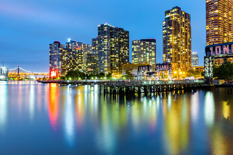 Long Island City skyline at dusk stock photos