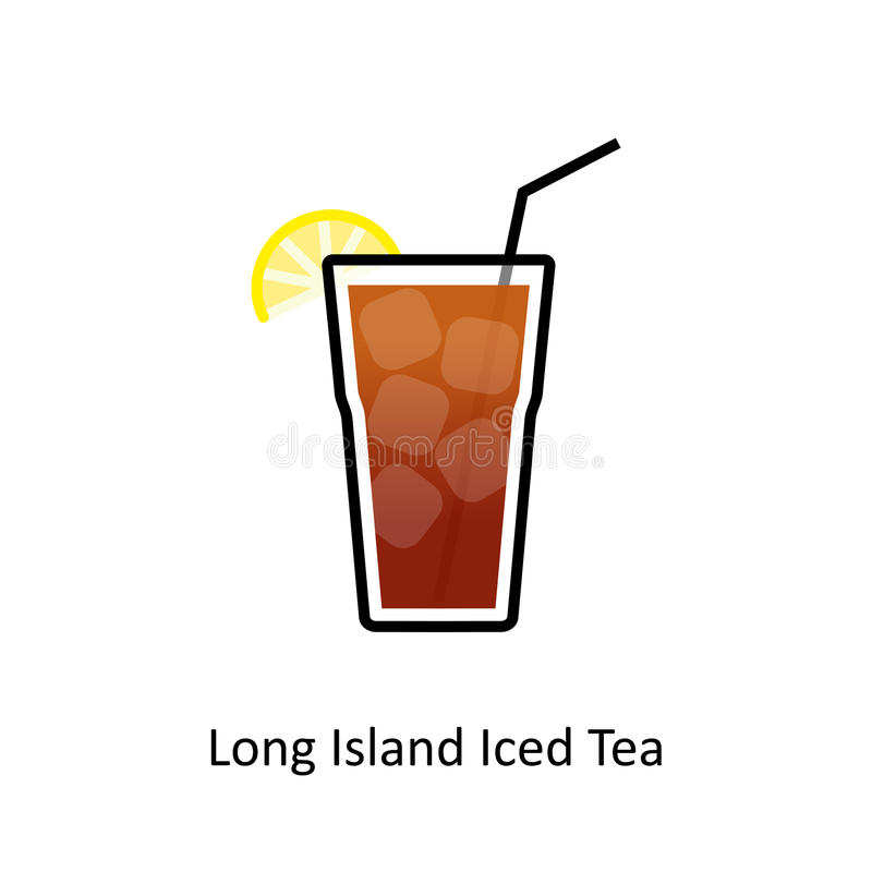 Long Island Iced Tea cocktail icon in flat style stock illustration
