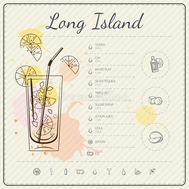 Long island iced tea. Cocktail infographic set. Vector illustration. Colorful watercolor background stock illustration