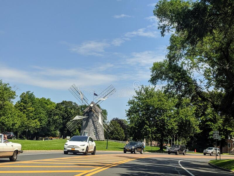 Long Island, NY, United States: July 15th 2019: English-style 1806 windmill located in East Hampton Long Island, hamptons stock photo