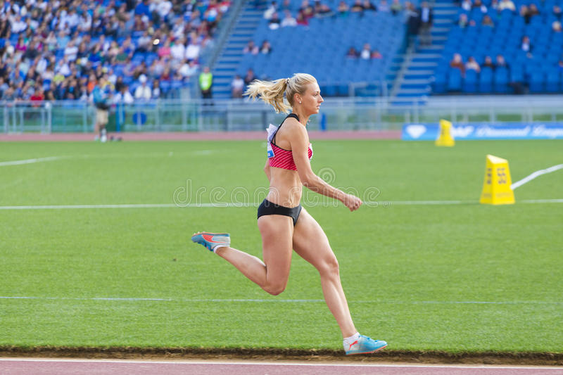 Long jump athlete. At Diamond League in Rome, Italy in 2016 stock photo