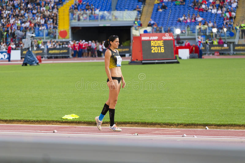 Long jump athlete. At Diamond League in Rome, Italy in 2016 royalty free stock photography