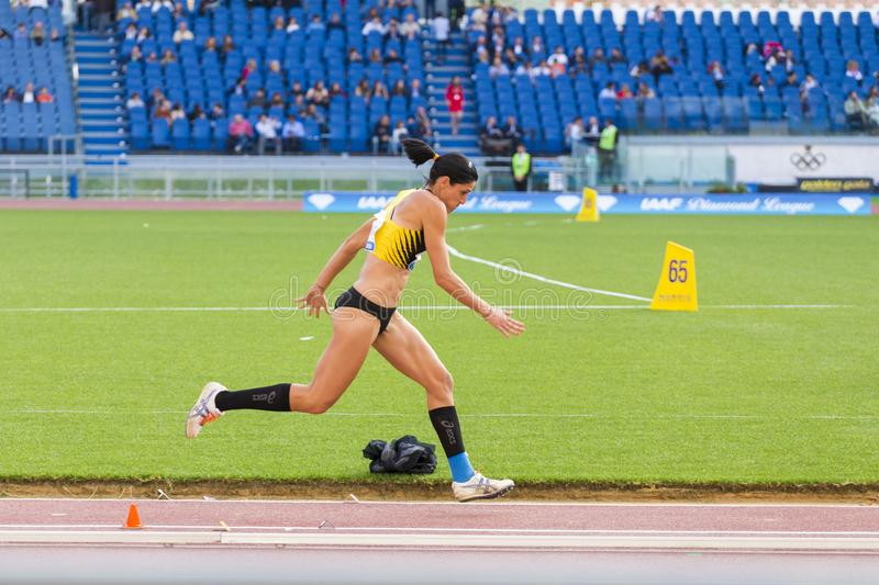 Long jump athlete. At Diamond League in Rome, Italy in 2016 royalty free stock photos