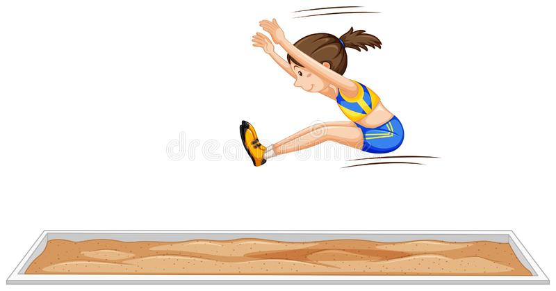 Long jump girl jumping in sport event. Illustration vector illustration