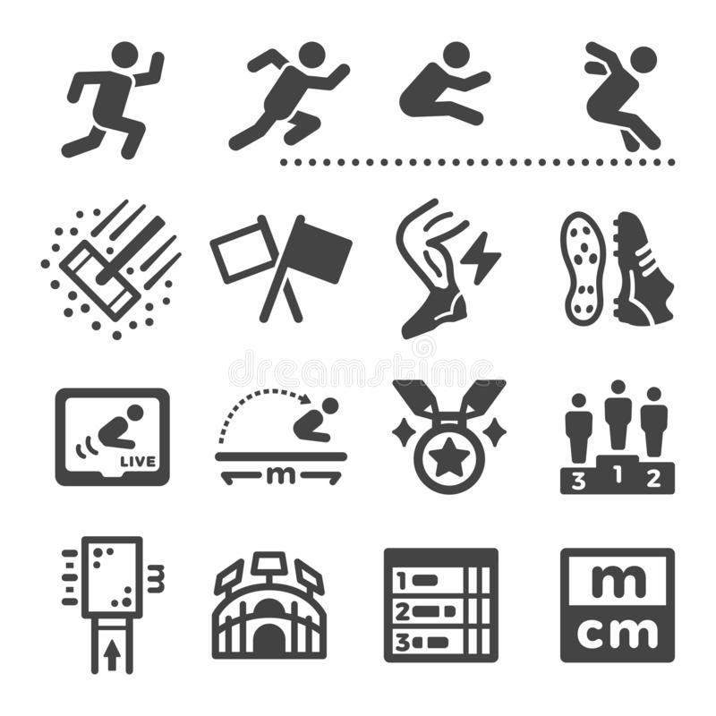 Long jump icon set stock images