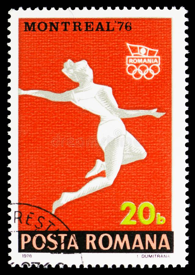 Long jump, Summer Olympics 1976, Montreal serie, circa 1976. MOSCOW, RUSSIA - OCTOBER 6, 2018: A stamp printed in Romania shows Long jump, Summer Olympics 1976 royalty free stock image