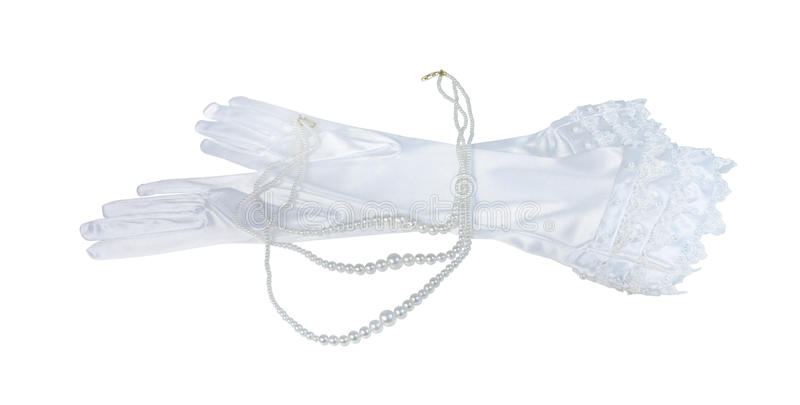 Long Laced Gloves with a Set of Pearls stock photos