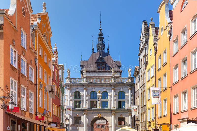 Long Lane and Golden Gate, Gdansk Old Town, Poland royalty free stock images