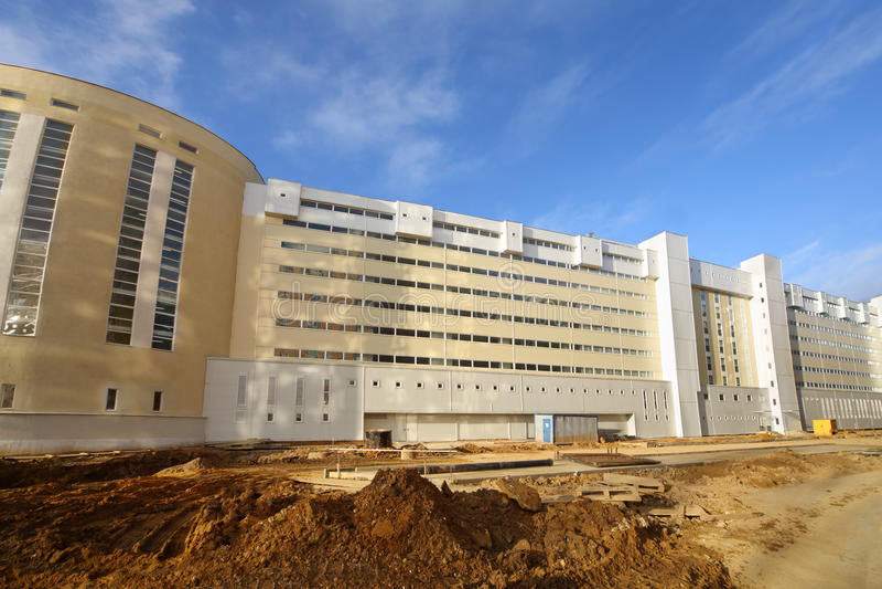 Long, large, multi-storey parking under construction royalty free stock photos
