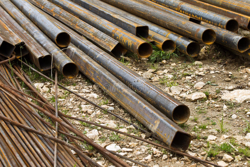 Long large pipes stock photography
