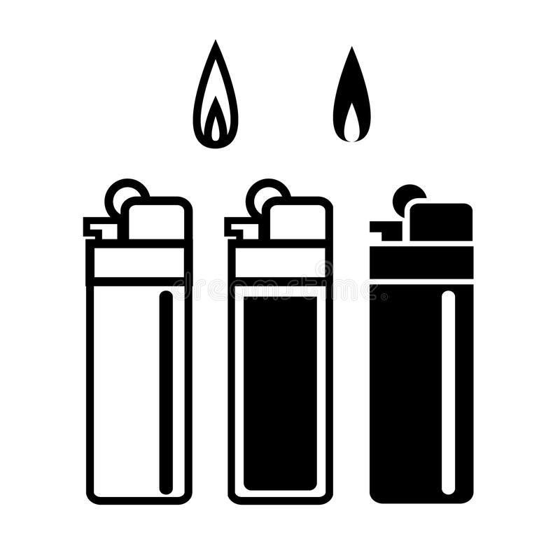 Long Lighters icon in linear and silhouette style stock illustration