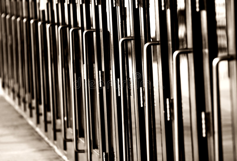 Long Line of Doors (Horizontal, Monochrome)) royalty free stock photo