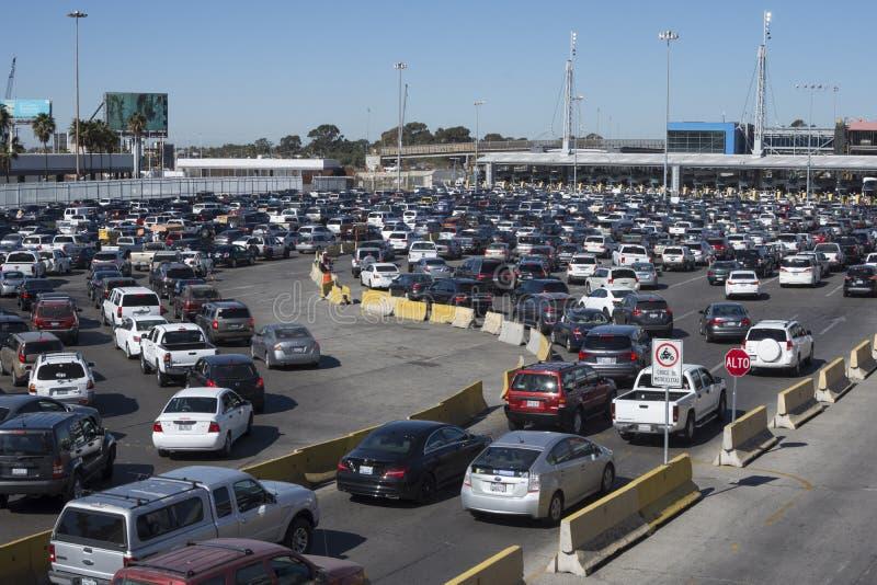 Long lines at the Tijuana border crossing stock image