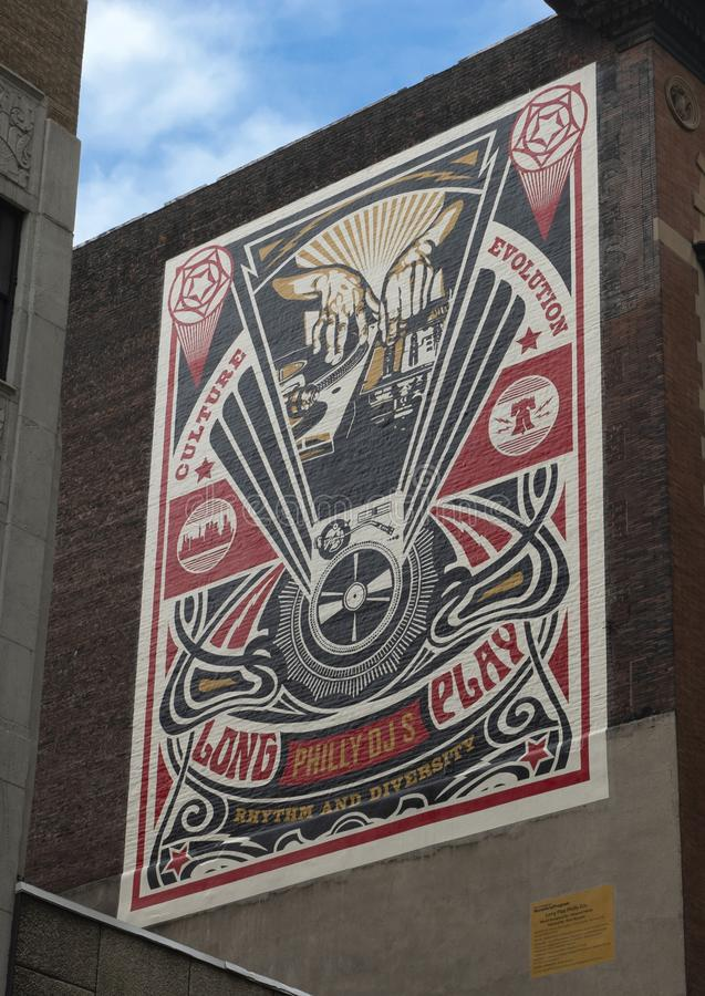 `Long Live Philly DJs` mural by Shepard Fairey, Mural Arts Program, Philadelphia, Pennsylvania royalty free stock photography