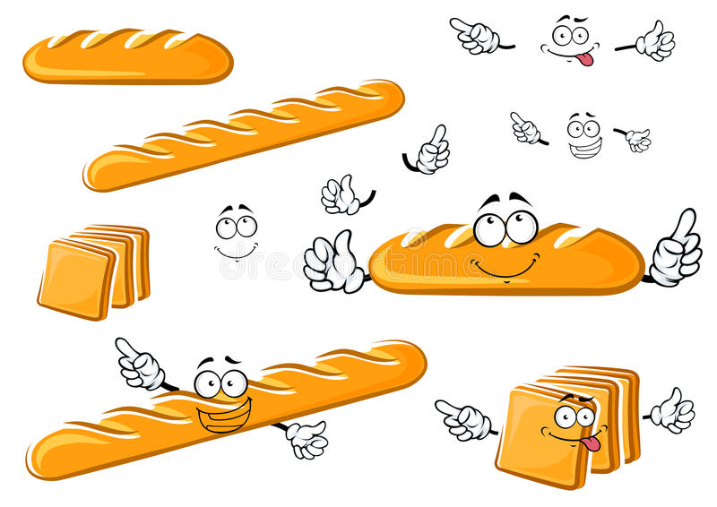 Long loaf, baguette and toast bread characters. Fresh baked white long loaf, baguette and toast bread cartoon characters with cheerful funny faces isolated on vector illustration